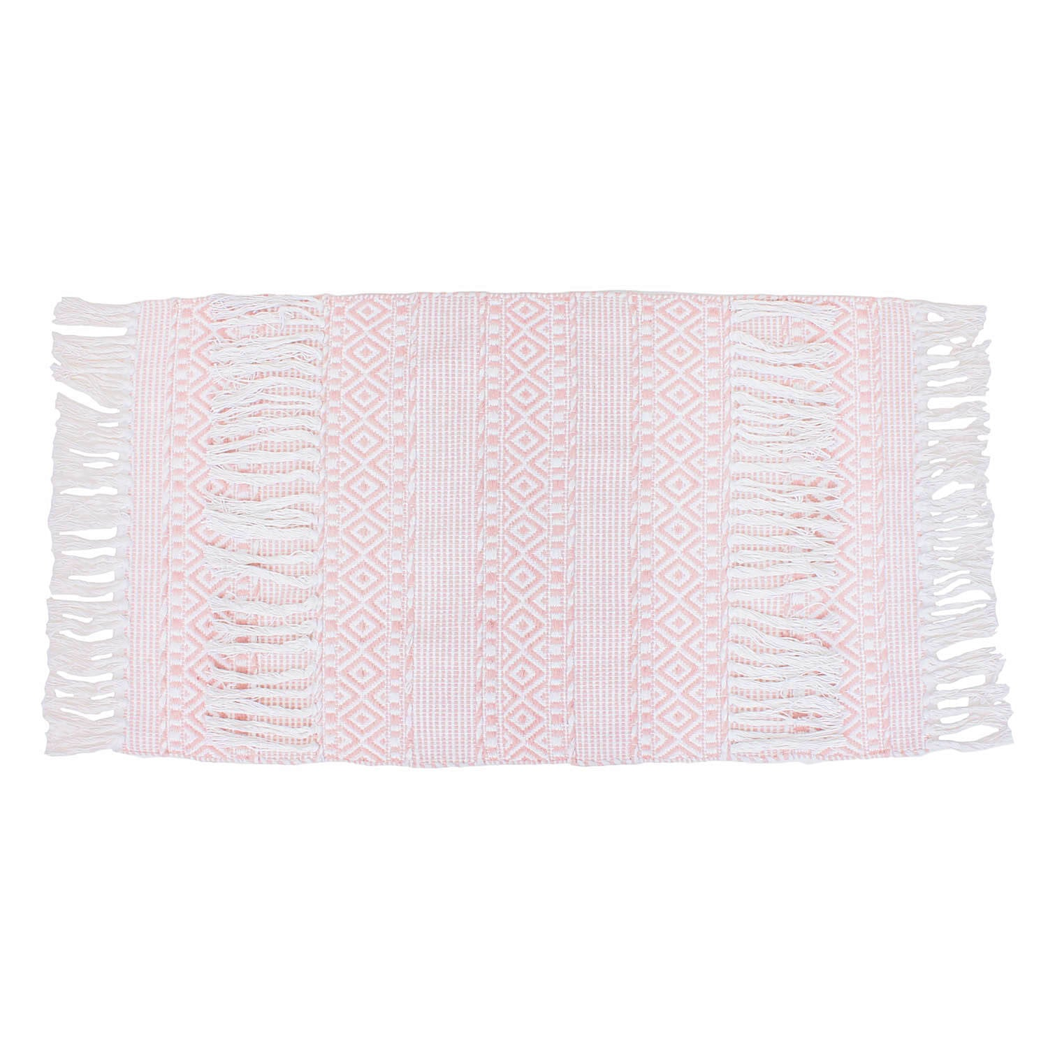 Textured Hand Woven Tassel Accent Rug - Rose Smoke