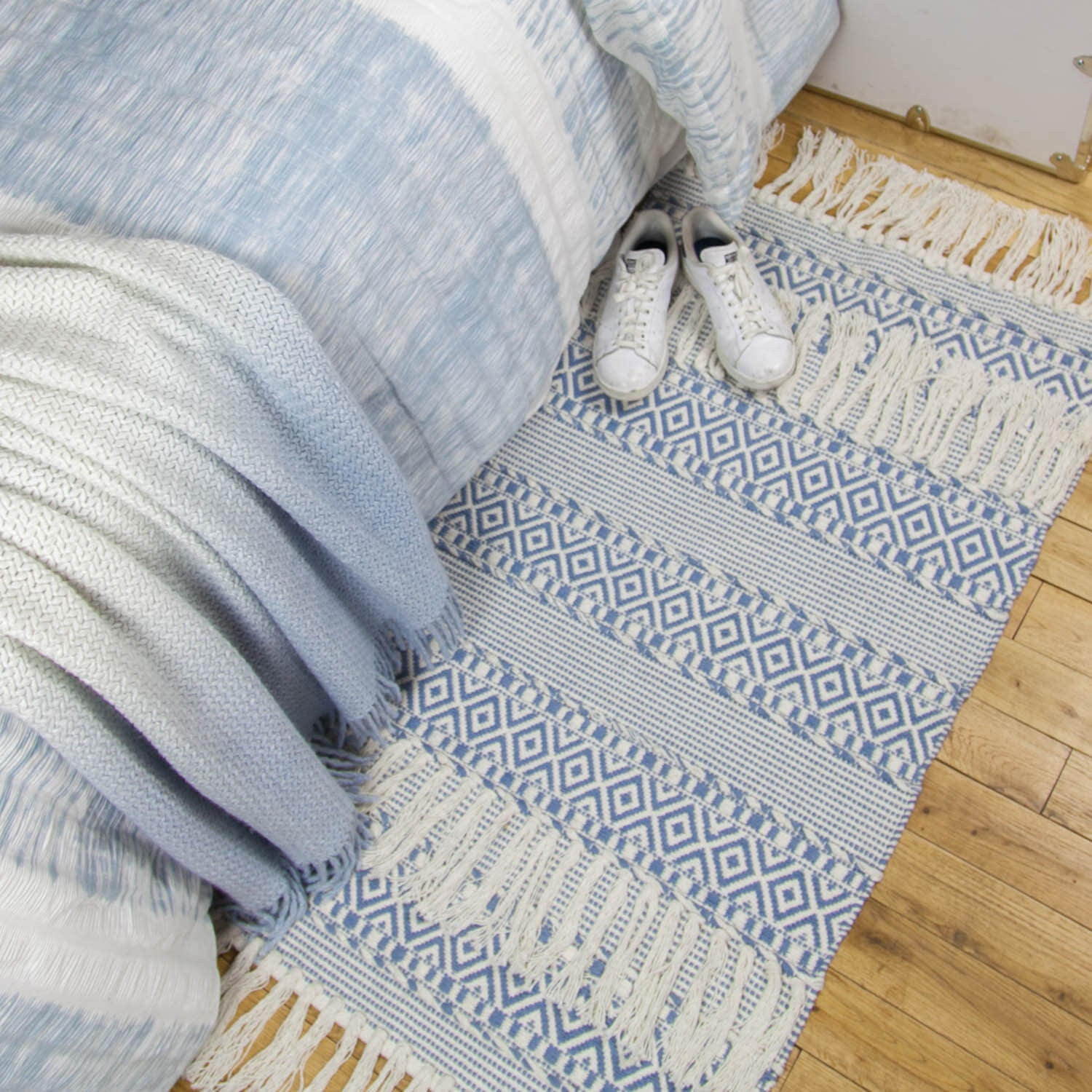 Textured Hand Woven Tassel Accent Rug - Dusty Blue
