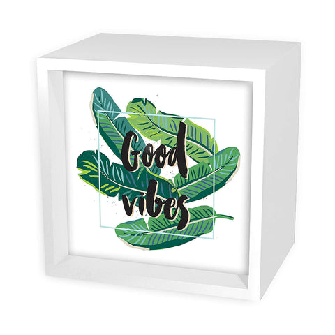 Good Vibes Tropical Leaves Light Box