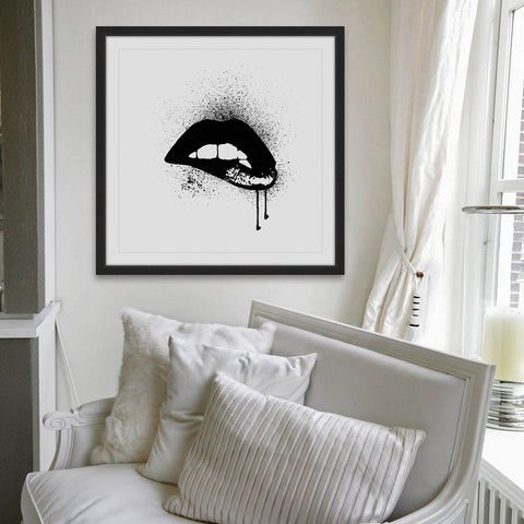 Framed Black Drip Lips