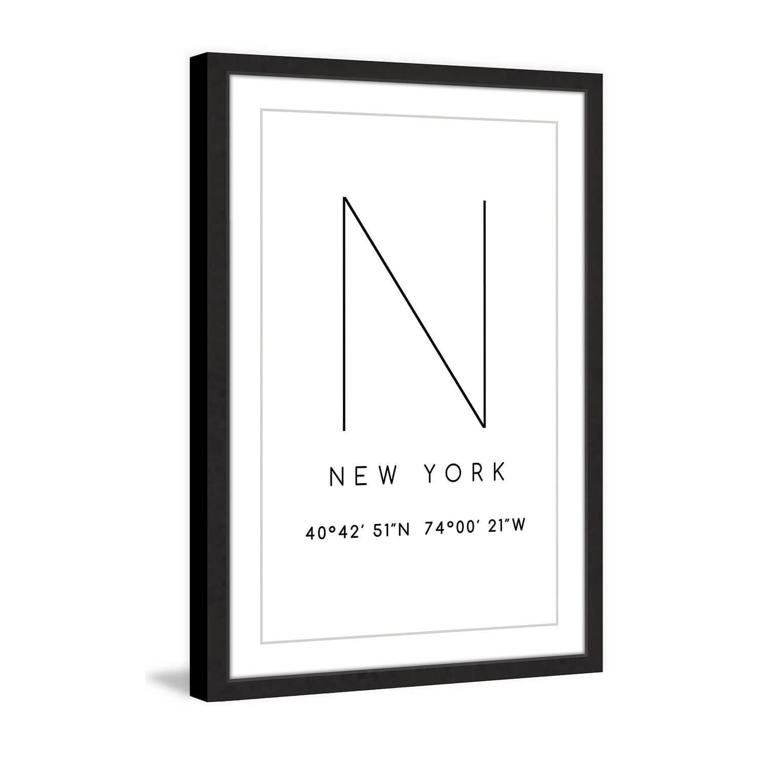 Framed New York Coordinates - 12x18