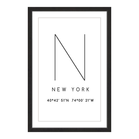 Framed New York Coordinates