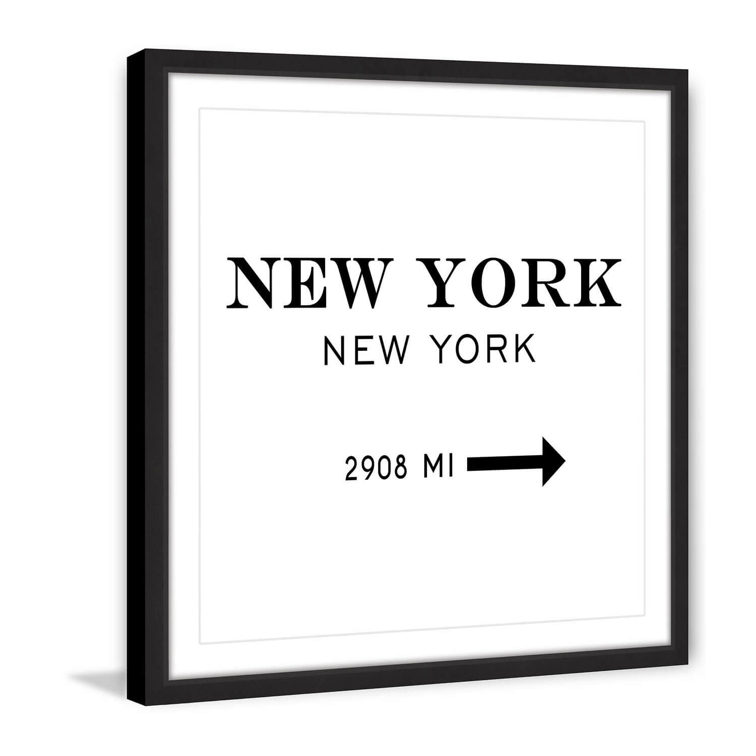 Framed Miles to New York Print - 12x12