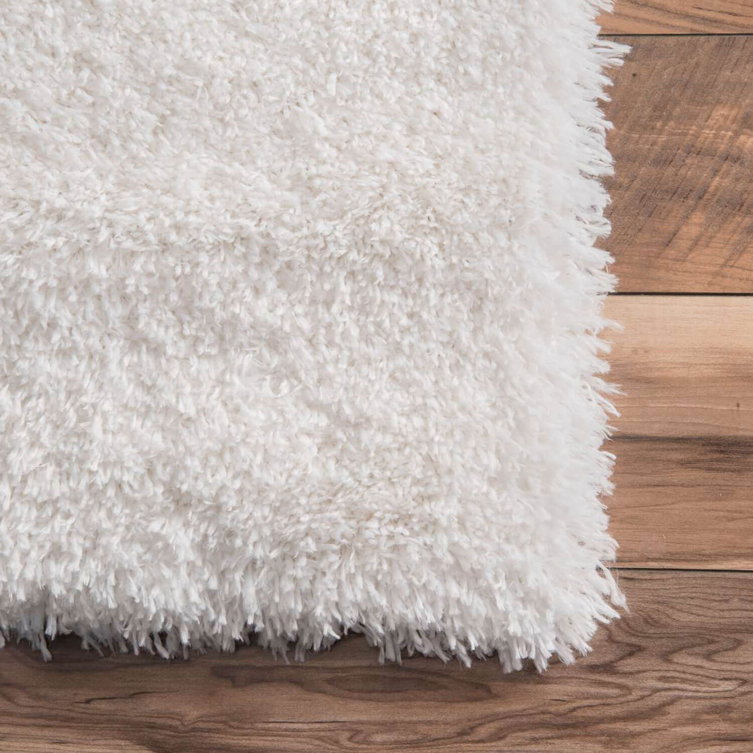 Solid White Simple Shag Area Rug - 3' 3