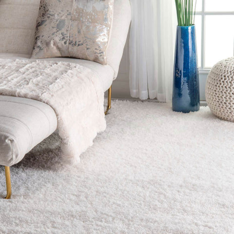Solid White Simple Shag Area Rug