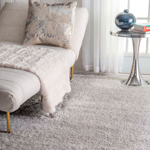 Solid Grey Simple Shag Area Rug