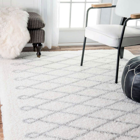 Grey Diamond Shag Area Rug ...
