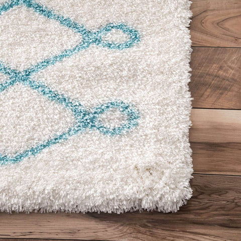Turq Diamond Shag Area Rug