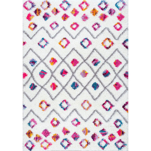 Moroccan Diamond Multi Shag Area Rug