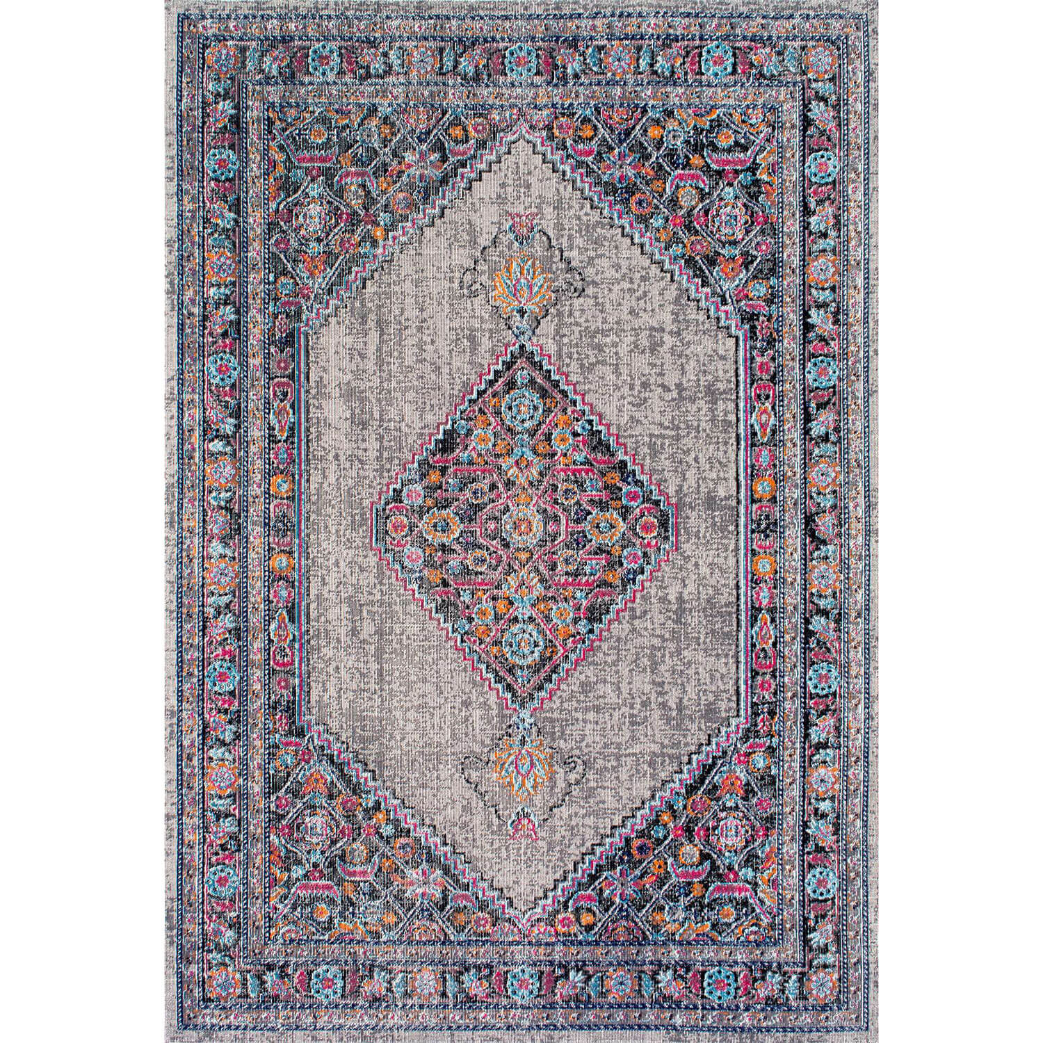 Grey vintage inspired area rug dormify for Vintage style area rugs