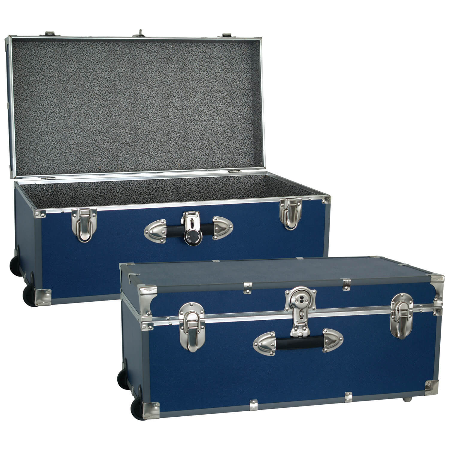 Large Luggage Trunk with Wheels - Blue