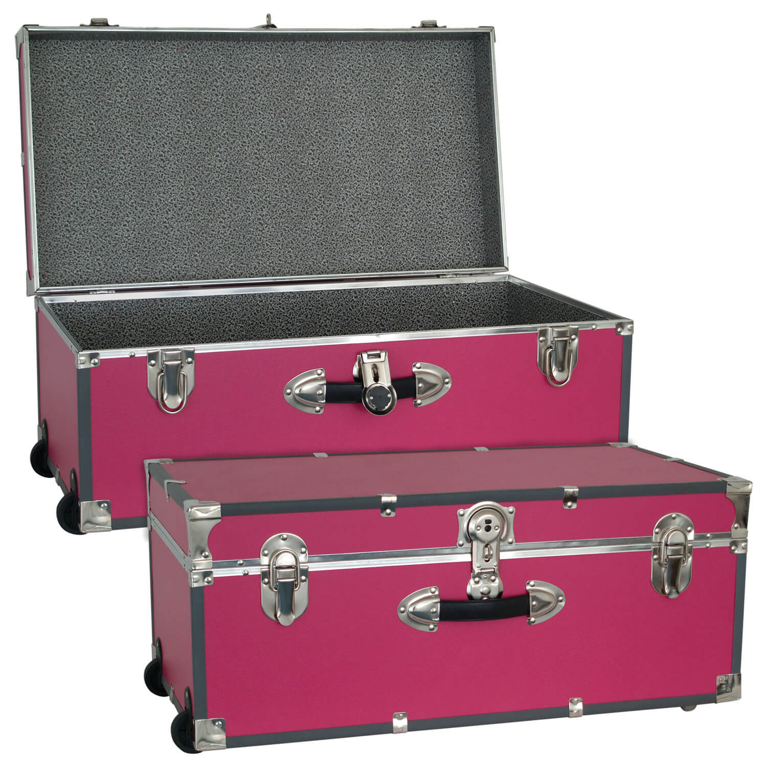 Large Luggage Trunk with Wheels - Pink