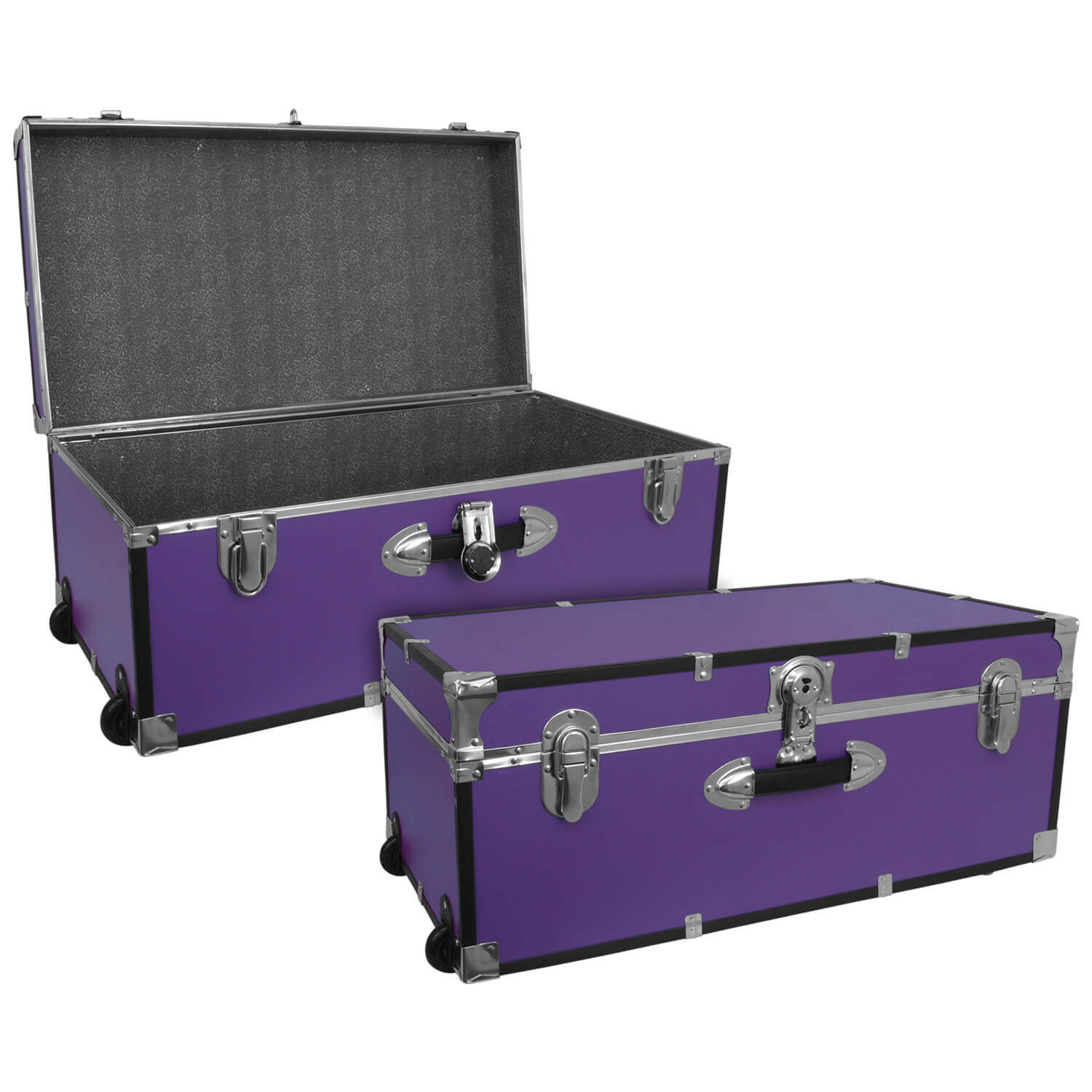 Large Luggage Trunk with Wheels - Purple