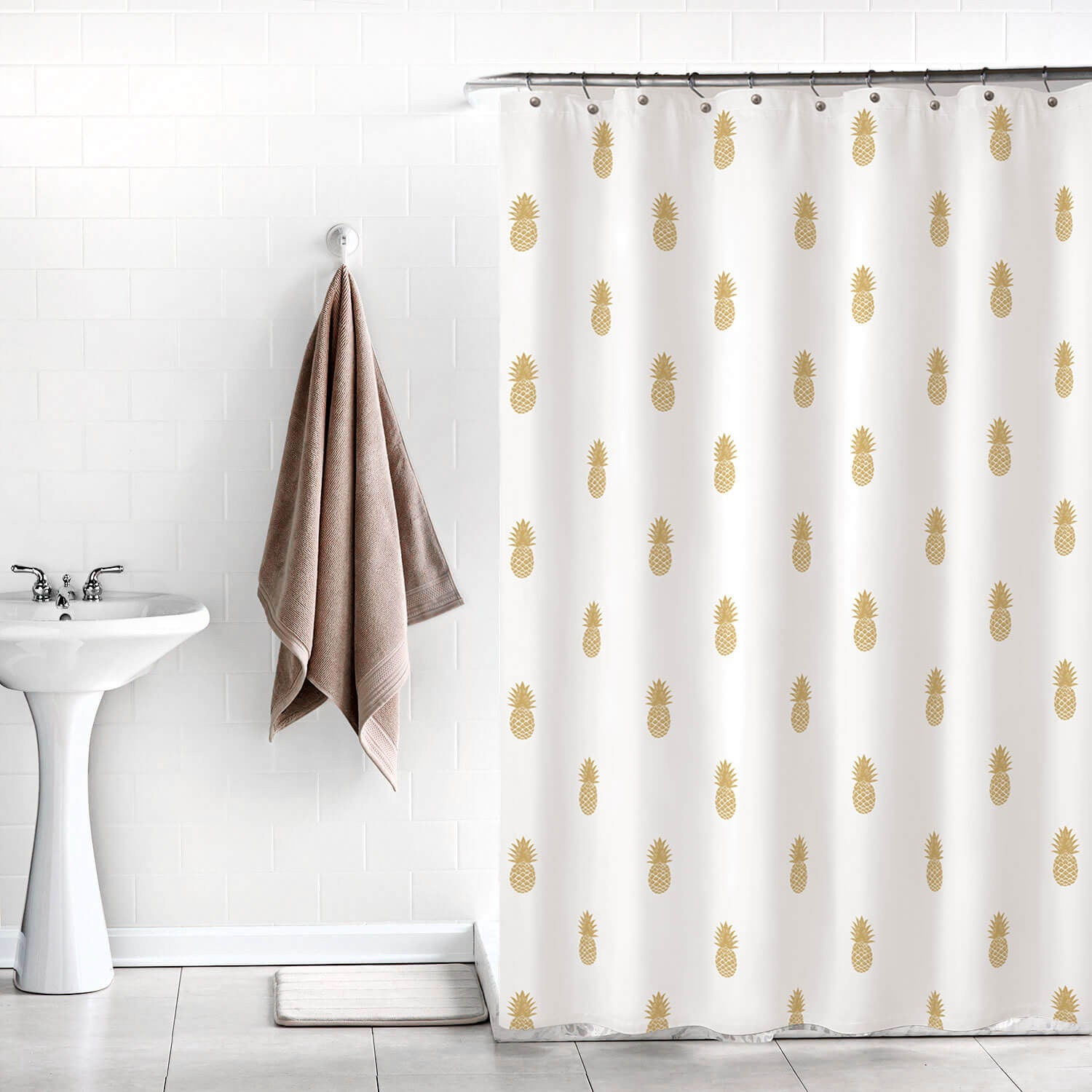 Throw pillows cards mugs shower curtains - Golden Pineapple Shower Curtain