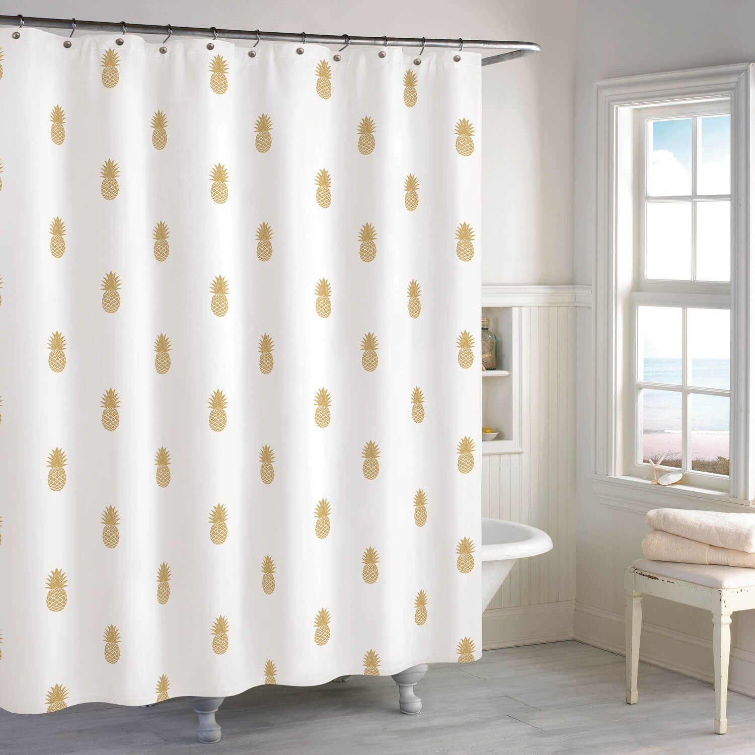 Golden Pineapple Shower Curtain