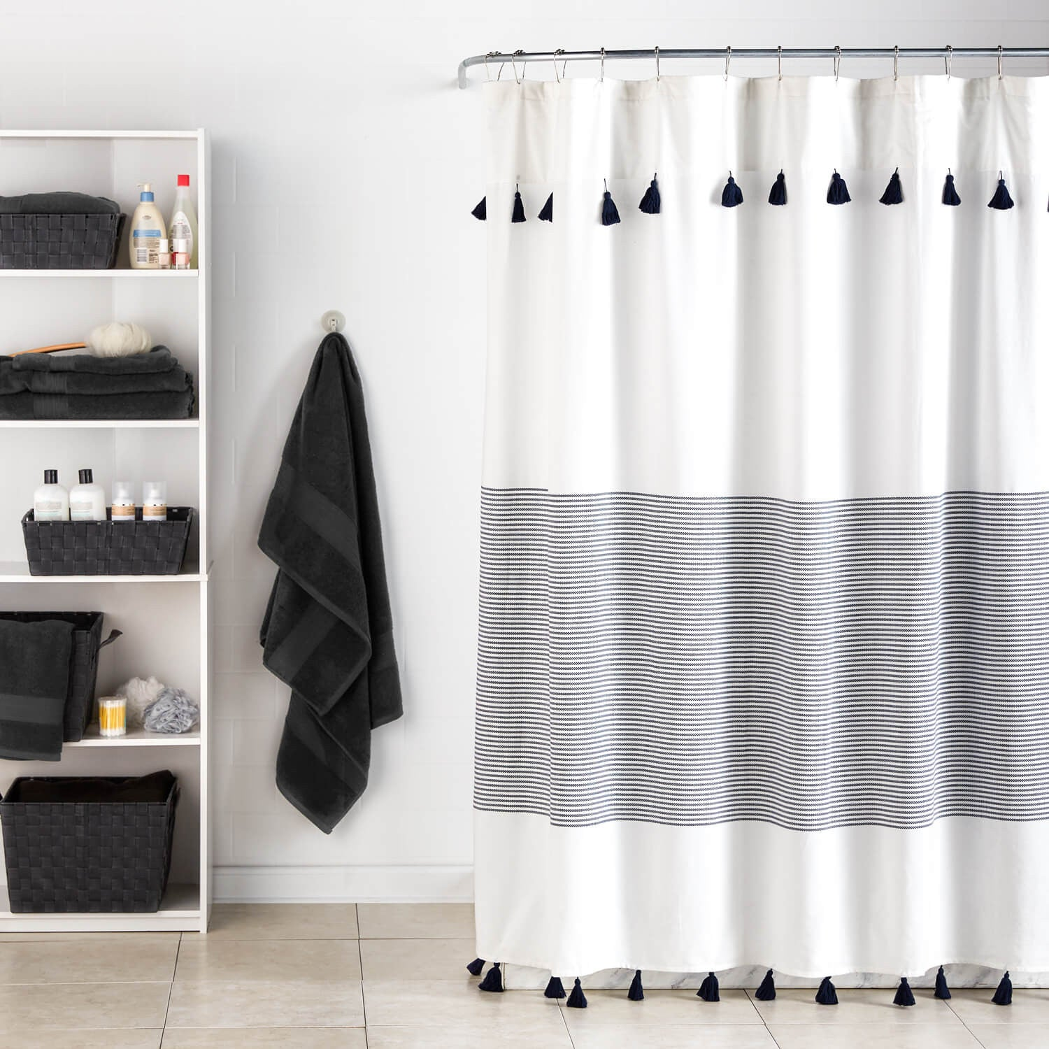 grey white striped shower curtain. Panama Stripe Shower Curtain  Dormify