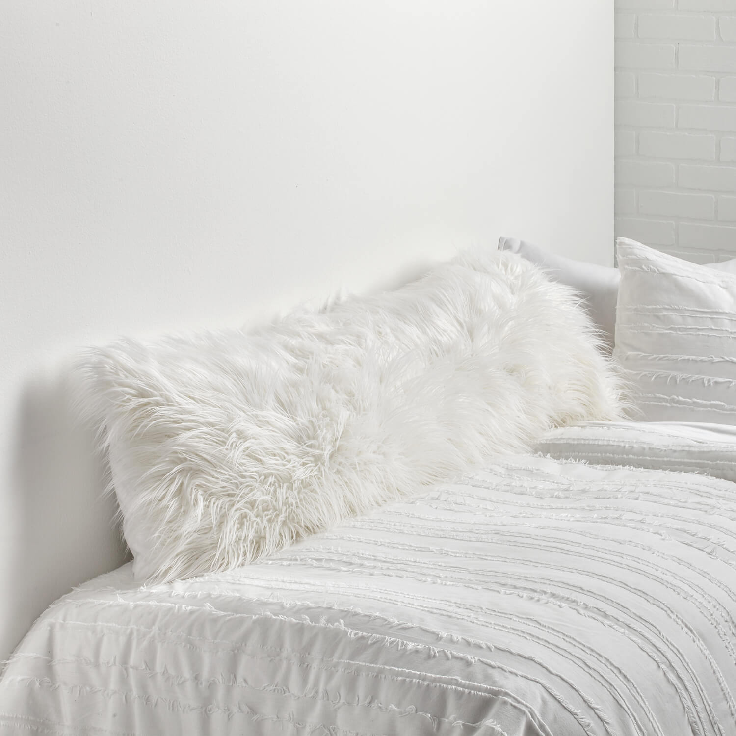 faux mongolian body pillow cover - white | bedding