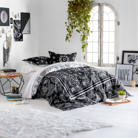 Bandana Print Reversible Duvet Cover and Sham Set – Charcoal - Twin/Twin XL