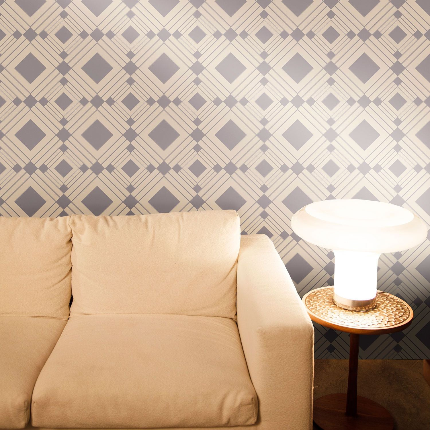 temporary wallpaper diamond metallic silvertaupe - Temporary Walpaper
