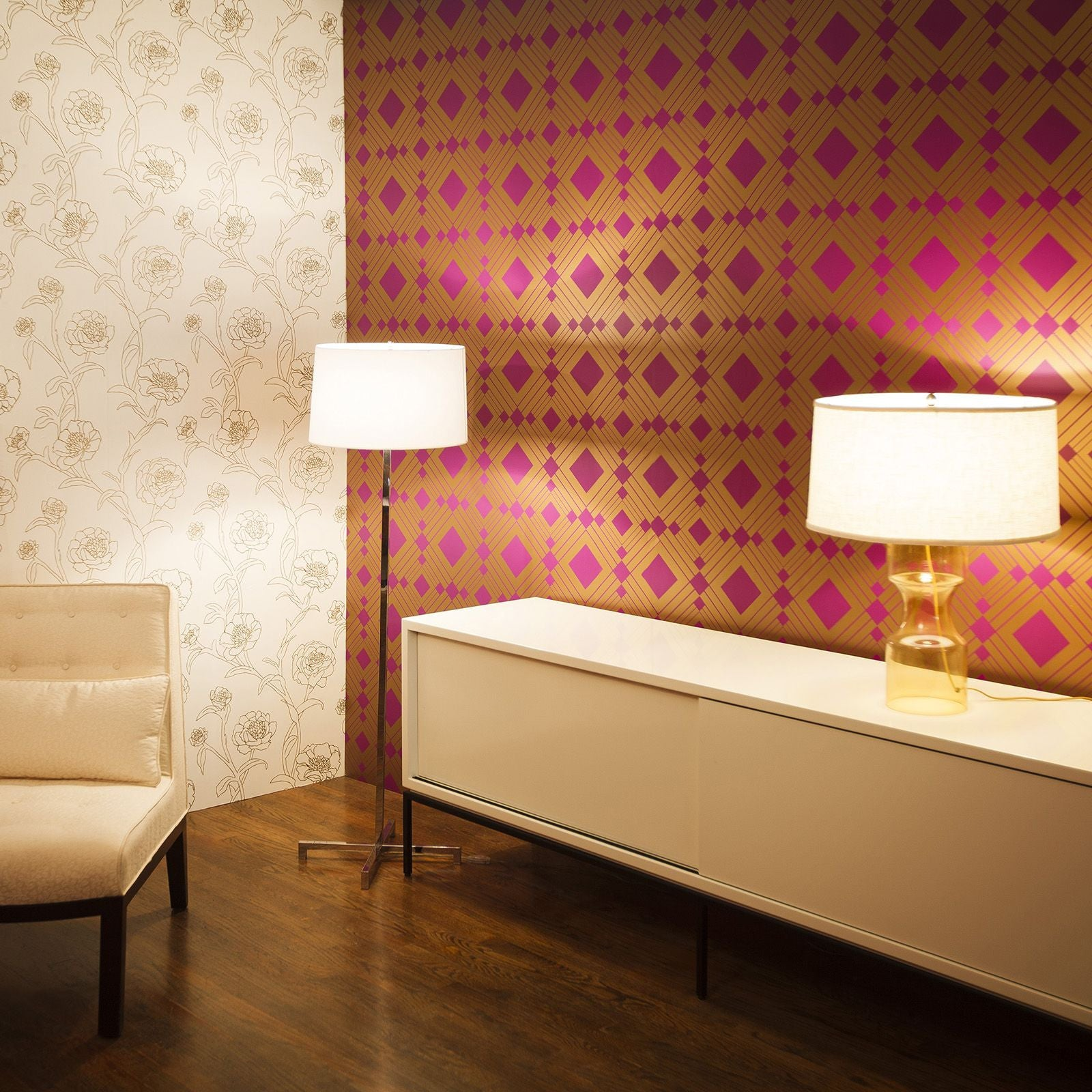 Temporary Wallpaper - Diamond - Metallic Gold/Violet
