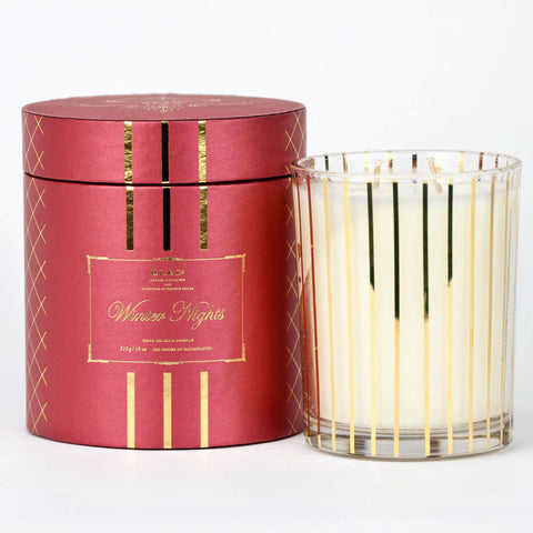 Winter Nights - 18 oz Candle Gold Stripe