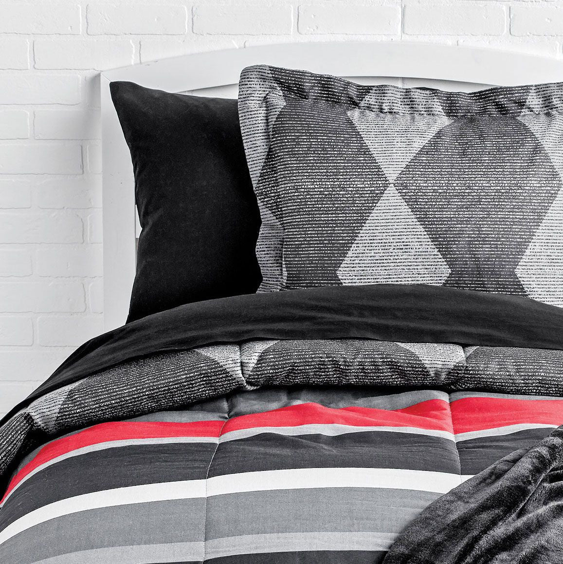Black Diamond Comforter and Striped Sheet Set - Queen