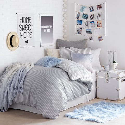 hampton stripe duvet cover and sham set