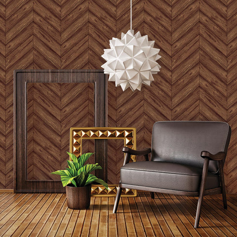 Temporary Wallpaper - Herringbone - Walnut