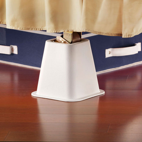 Bed Risers 4 Pack - White 6 inch
