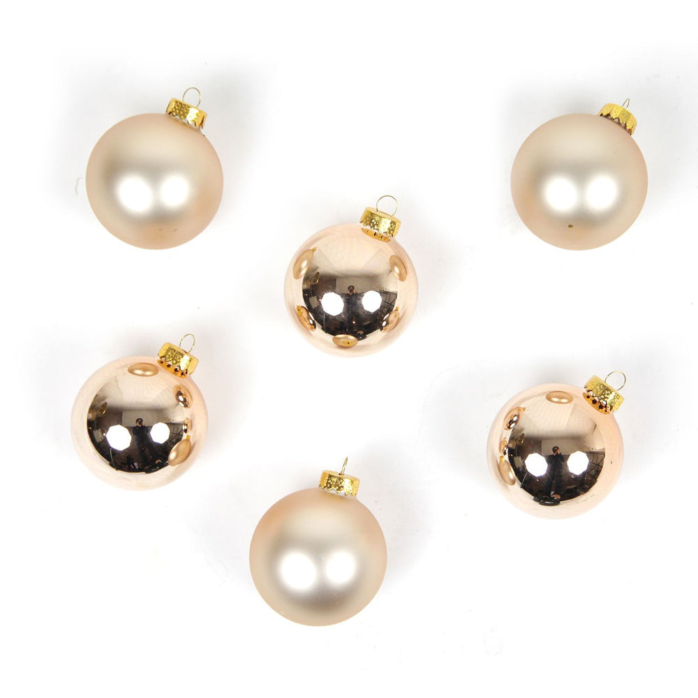 65mm Glass 2 Tone Rose Gold Ball Ornament 6pc
