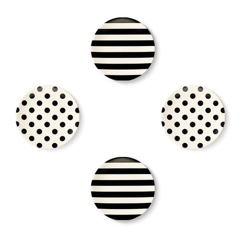 Kate Spade Black& White Tidbit Plates - Set of 4