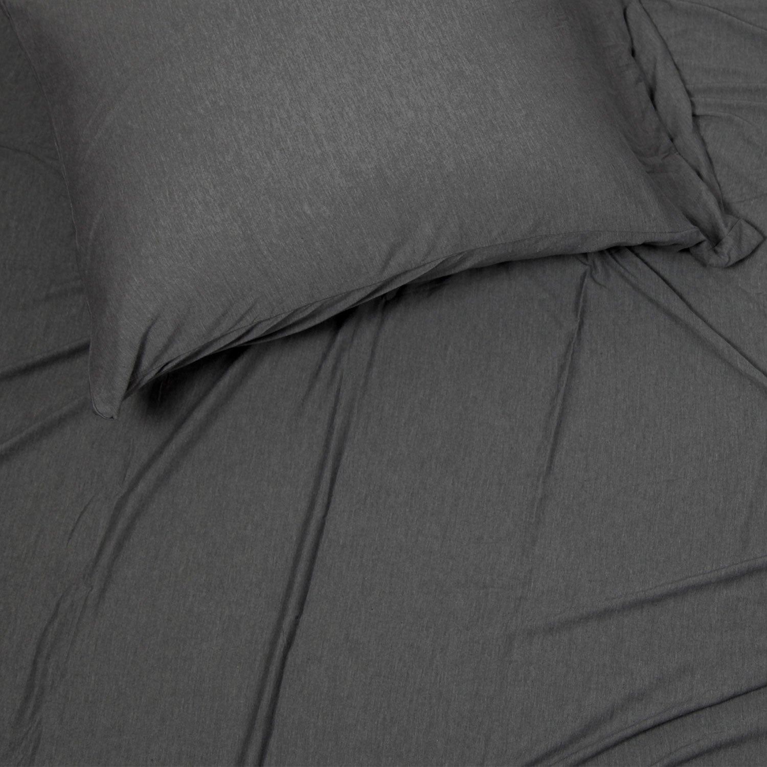 Brooklyn Flat Jersey Sheet Set - Charcoal Full