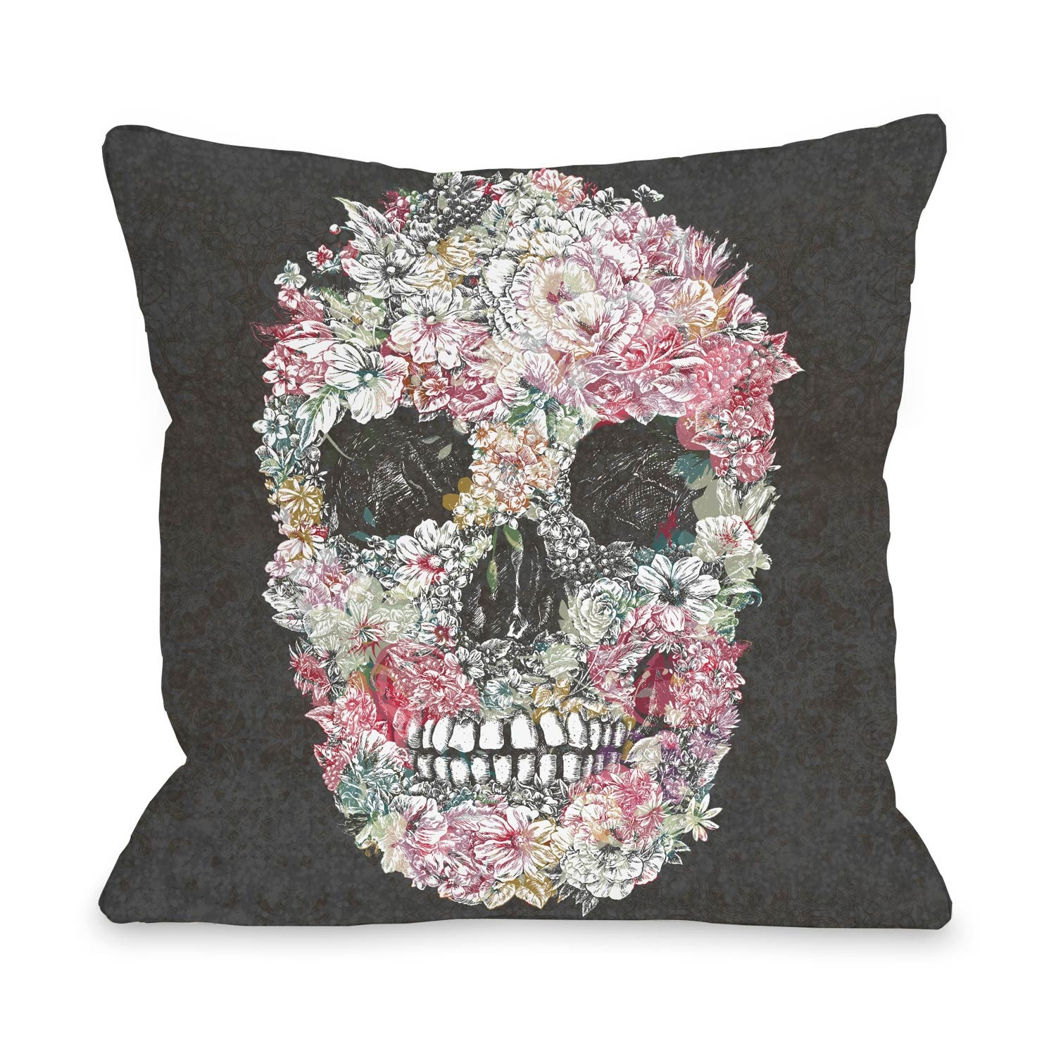 Grey Dia Muertos Skull Flowers Pillow by One Bella Casa