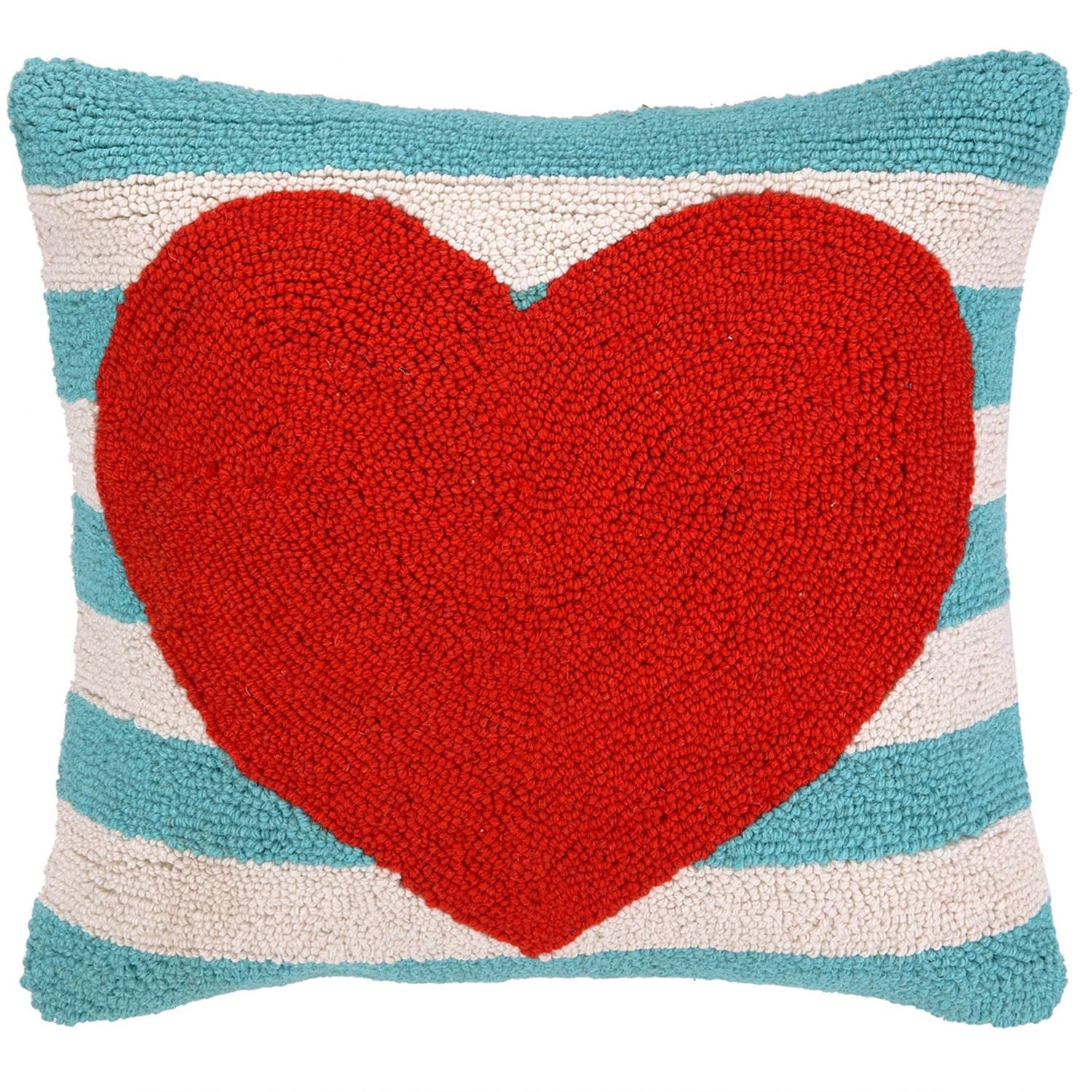 Stripe Heart Pillow - Blue