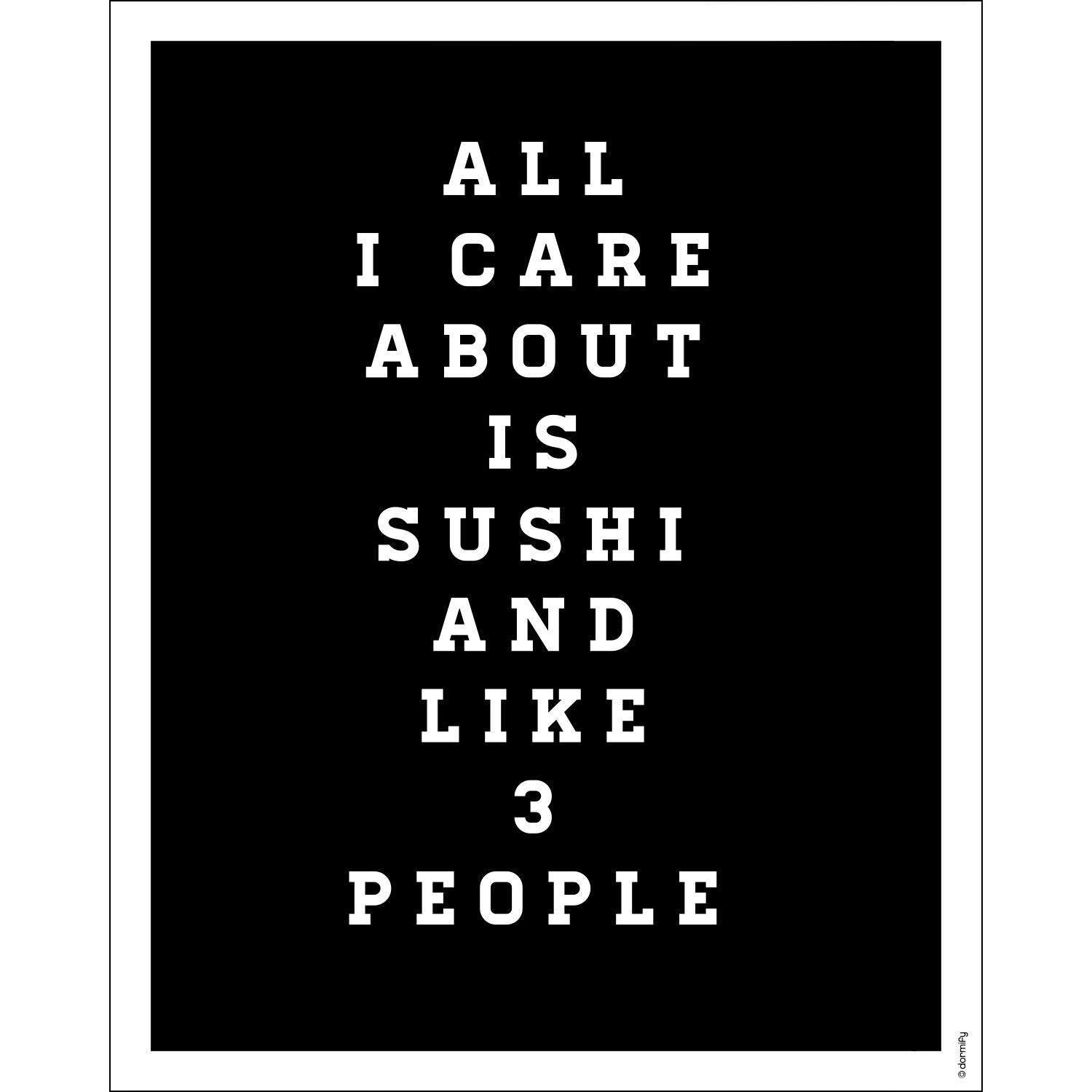 All I Care about is Sushi Print - 16x20