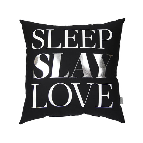 Silver Sleep Slay Love Pillow