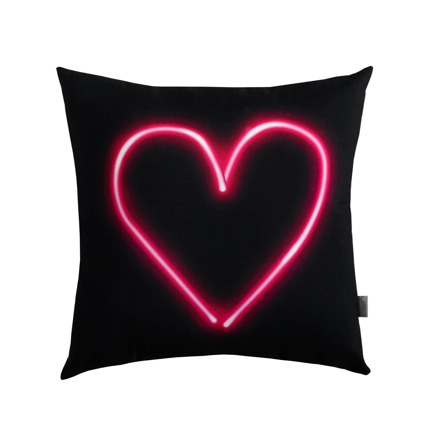 Neon Pink Heart Pillow - White