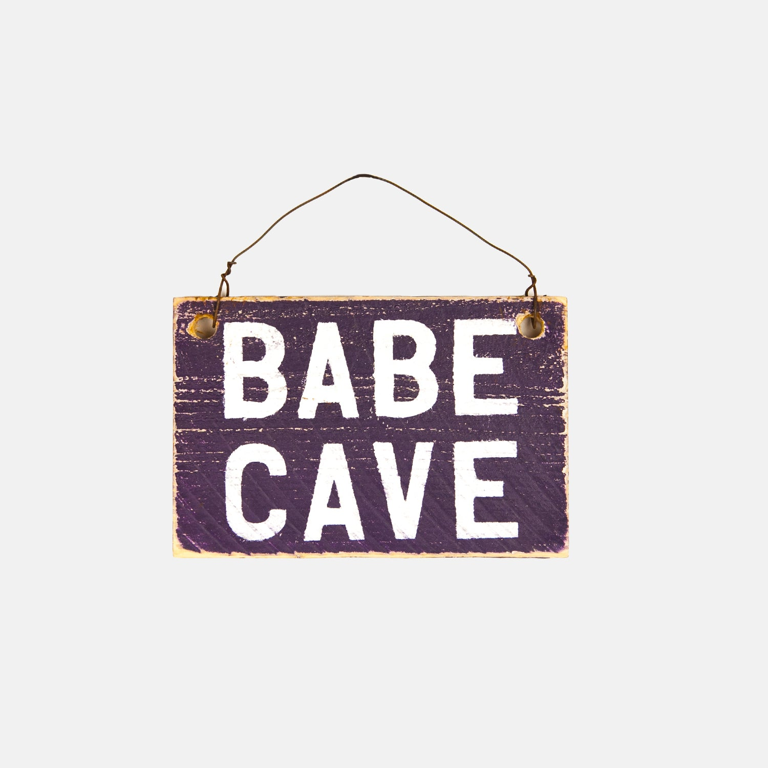 Babe Cave Small Wooden Sign - Pink