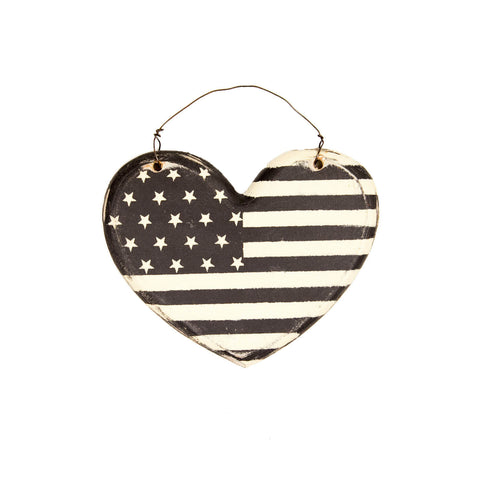 American Flag Heart Wooden Sign