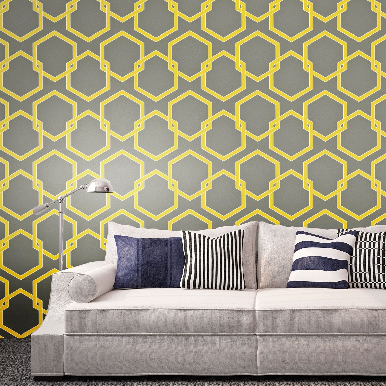 Temporary Wallpaper - Honey Comb - Citron