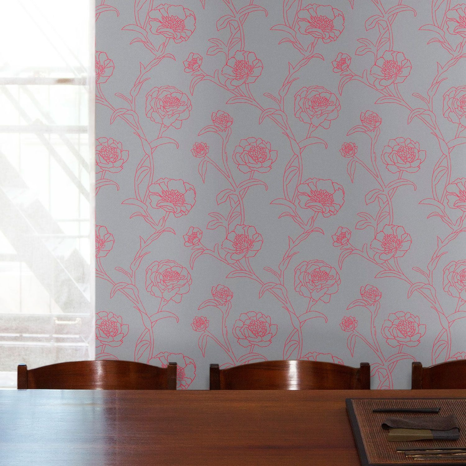 Temporary Wallpaper - Peonies - Rouge