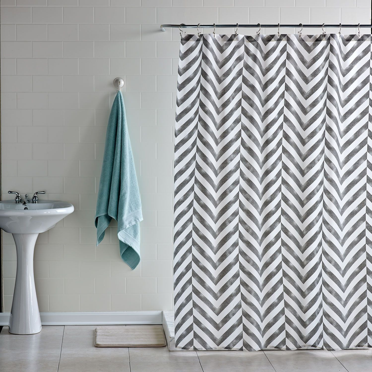 Chevron bathroom sets with shower curtain and rugs - Tiled Chevron Shower Curtain