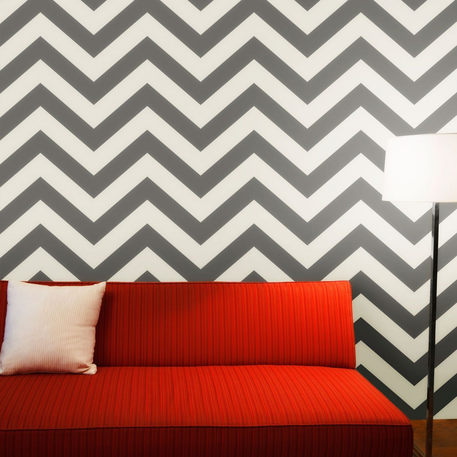 Temporary Wallpaper - Chevron - Grey Mist