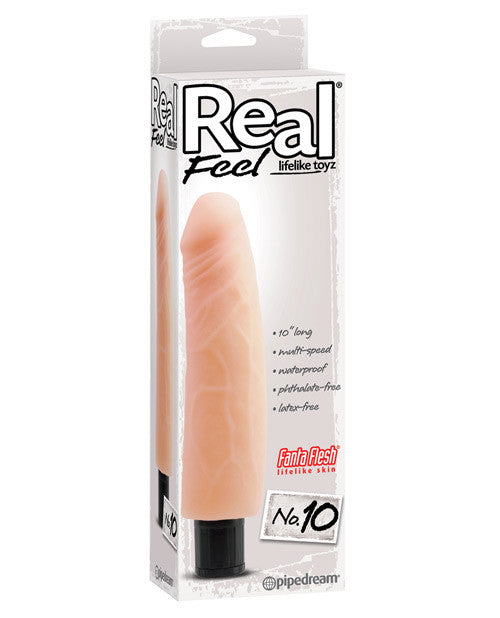 "Real Feel No. 10 Long 10"" Waterproof Vibe - Flesh Multi Speed"