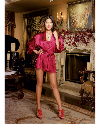 Red Charmeuse Short Length Kimono with Matching Chemise