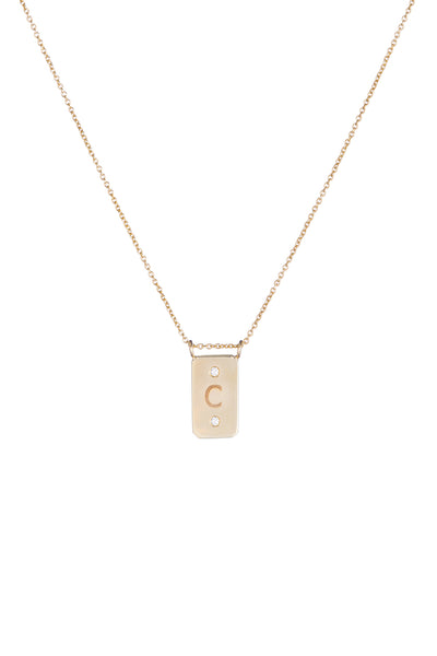 Personalized 1 Initial 2 Diamond Plate Necklace