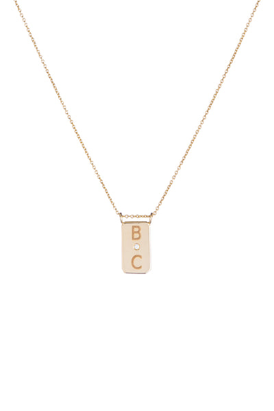 Personalized 2 Initial 1 Diamond Plate Necklace