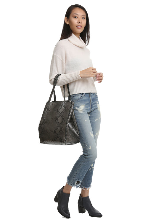 Dannie P Tote with Studs in Gray Snake