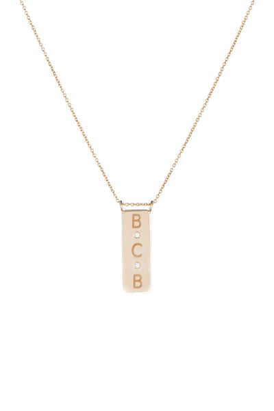 Personalized 3 Initial 2 Diamond Large Plate Necklace