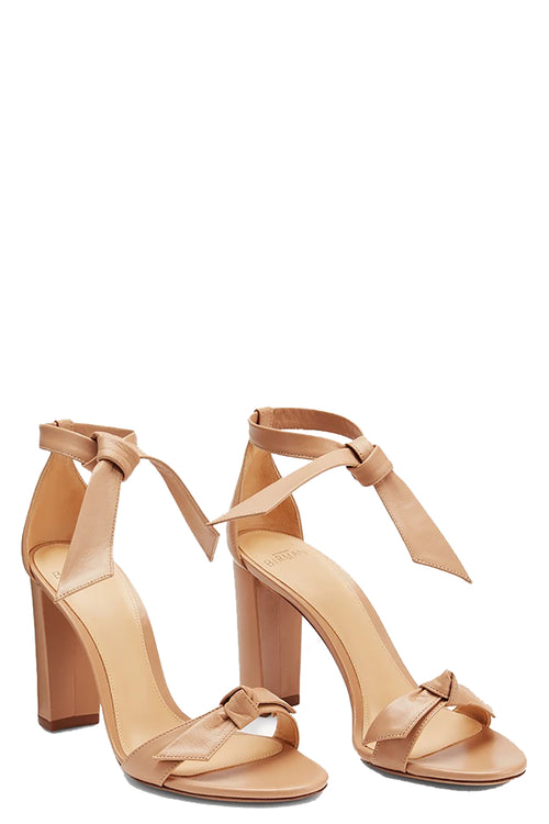Clarita Block 90 Leather Sandal in Nude